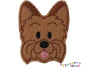 Yorkie - Yorkshire Terrier Puppy Dog Felt Embroidered Embellishment Clippie Cover SET of 4 - Multiple Sets Available