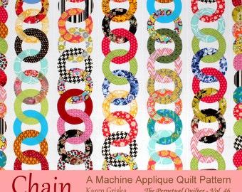 Chain Quilt Pattern, Raw Edge Applique Quilt Pattern, Instant Download, qtm, Scrap Quilt Pattern,