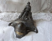Antique inkwell French WWI souvenir memorabilia militaria inkwell, signed antique military ink well, for your desk, writer gift