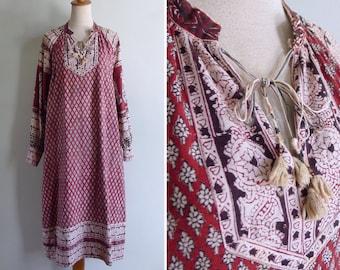 Vintage 70's Kumari Indian Princess Woodblock Floral Cotton Tent Dress M L or XL