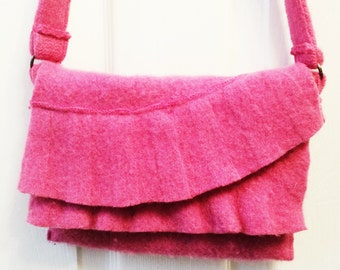 Hot pink felted wool shoulder bag