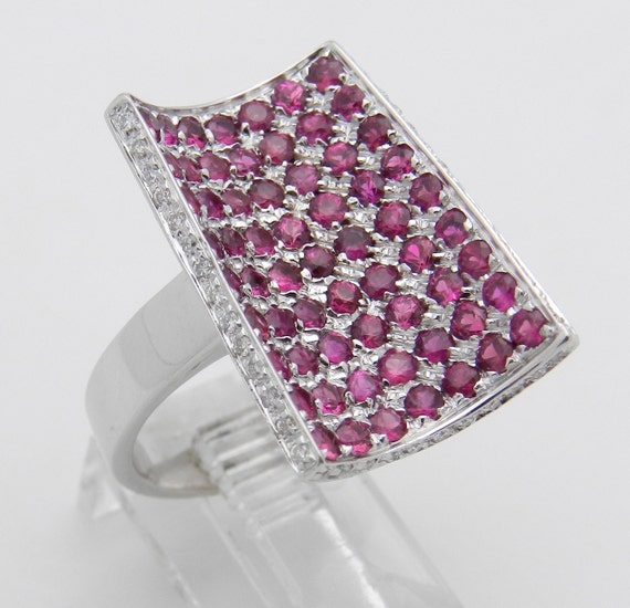 2.54 ct Diamond and Round Red Ruby Statement Ring 18K White Gold Size 6.5
