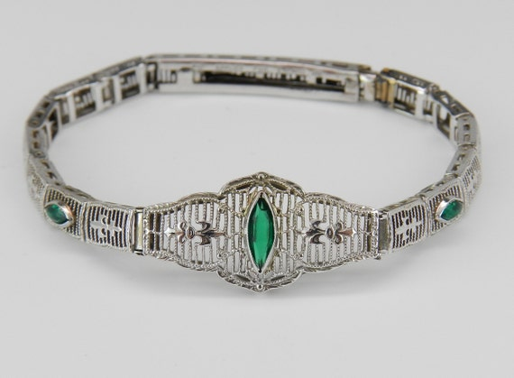 REDUCED Emerald Filigree Bracelet Antique Bracelet Art Deco Bracelet 10K White Gold Green Circa 1920's