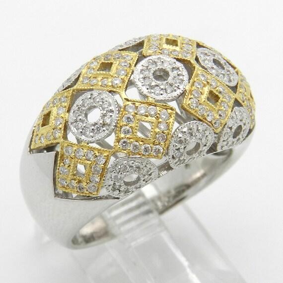 Diamond Ring Anniversary Band 14K White Yellow Gold .58 ct Size 7
