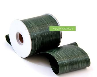 "Tropical Green Leaf Floral Ribbon 4"" 50 Yards"