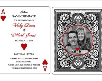 Set of 25 Flat Panel Vegas Poker Themed Save the Date Cards