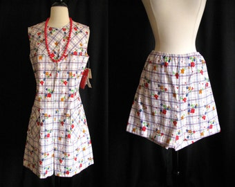 Vintage 1960s Play Suit - Sears Shift and Shorts Set - 2 piece Mini Dress w/ Shorts NOS w/ Original Tags Medium