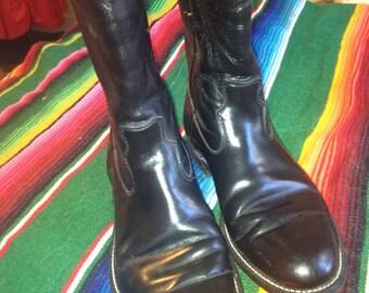 Black leather Justin roper white stitch biker boots VLV