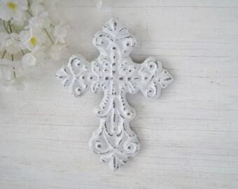 Small Ornate Cross,Cast Iron wall Decor,Victorian Ornate Cross,
