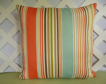 Mixed Stripes Outdoor Pillow Cover in Orange, Aqua, Chartreuse, Brown, Ivory/ Patio or Deck Pillow Cover