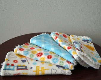 Boy Wash Cloth Set - Trains - Red, Yellow, Blue & Green - Baby Shower Gift