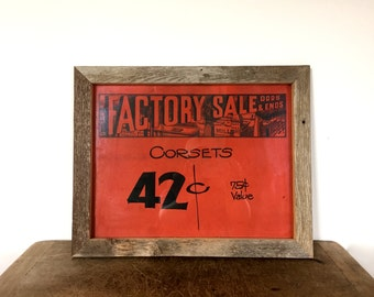 Vintage hand printed and painted on card board -  original sign