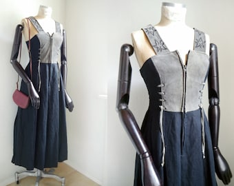 Trachten Folk fantasy leather dress Rustic Folklore Leather Linen maxi Gown, Suede black Oktoberfest German Folk US 6
