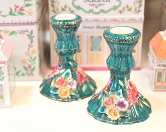 Pair of Vintage Ceramic Candle Stick Holders in Turquoise Capodimonte Style - FREE DOMESTIC SHIPPING