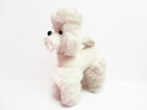Fluffy White Stuffed Poodle Toy