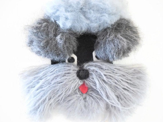 Extraordinary Gray Yarn Poodle Applique or Wall Hanging