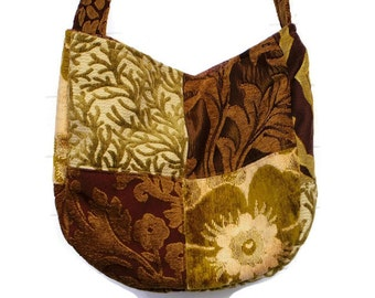 Boho Bag Purse Cut Velvet Chenille Patchwork