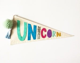 Unicorn Pennant Flag - Canvas Felt Embroidered Wall Decor - Wall hanging banner - Custom Name Pennant - Nursery Decor - Modern nursery