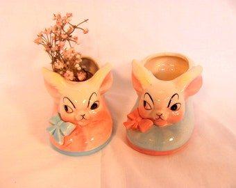 Two Pink and Blue Rabbit Planters / Bunny Planters great for Baby Shower / Baby's Nursery Decor