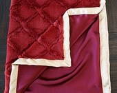 Minky Blanket, Maroon Blanket, Maroon and Gold, 49ers, Scarlet, FSU, Minky and Satin, Blanket for Man, Baby boy, Florida State, Noles