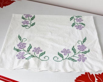 Vintage Embroidered Pillow Case White Cotton With Purple and Green Flowers