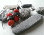 RESERVED FOR TOM Sterling Silver Coral and Grey Shell Contemporary Earrings