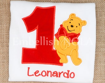 Winnie the Pooh Birthday Number Applique Shirt