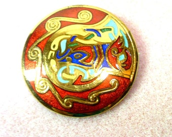 Vintage Irish Celtic Motif Pin/Brooch/Pendant - Red and Gold -  No. 1461