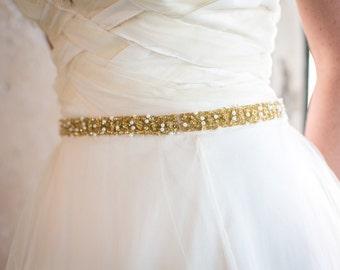 Aurora - Gold bridal sash pearl and Beaded, sequined Wedding Sash Belt - SA623