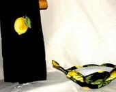 Bowl Cozy Soup Bowl Cozy Microwave Kitchen Towel Bowl Hot Pad Pot Holder Black Yellow Lemon Microwave Bowl Cozy Matching Towel Gift Set
