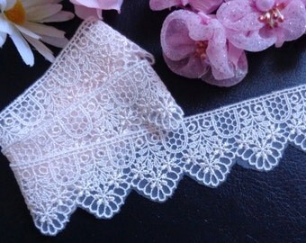 1 3/8 inch wide light pink mesh embroidery lace trim ribbon selling by the yard