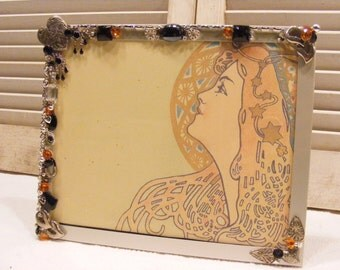 Jeweled and Embellished 8 X 10 Picture Frame, Photo Frame, Silver, Orange and Black