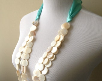 Mother of Pearl Shell Coin Beads and Teal Ribbon Necklace - Natural Shell and Ribbon Necklace - Beach Collection