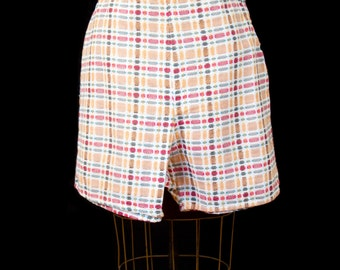1950s Shorts // High Waist Colorful Embroidered Plaid Look Cotton Side Zip Shorts