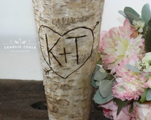 Rustic Personalized Birch Vase, Wedding Gift, Wedding Decor, Home Decor, Bridal Shower Gift, Housewarming Gift, Rustic Vase