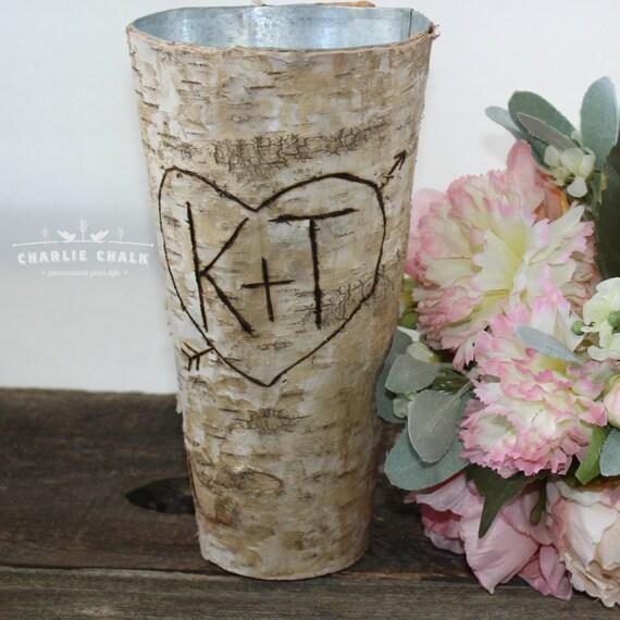 Personalised Vase Wedding Gift : Rustic Personalized Birch Vase, Wedding Gift, Valentine, Wedding Decor ...
