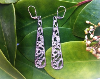Crystal Filigree Drop Earrings