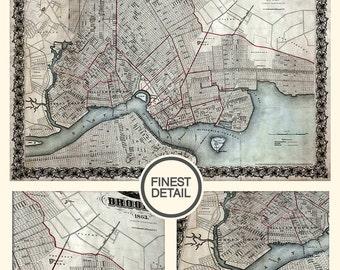 Old Brooklyn map, Wall map - Brooklyn Map Print (1863) - interior map design, home decor - 087
