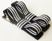 black and white striped hair bows--small preppy stripe clips-- small accessories for infant baby girls