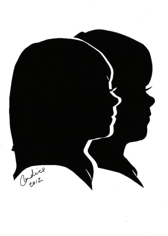 Custom Silhouette Portraits Double Subject