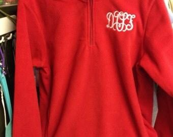 Adult quarter zip fleece pullover jacket red