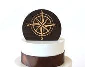 Compass Rose Wedding Cake Topper, natural burned wood