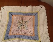 Crochet Baby Blanket Pastel Colored Granny Square