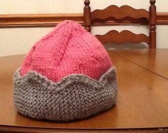 Princess crown hand knit hat