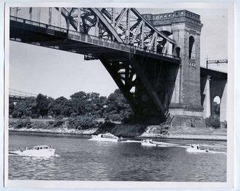 OLD Brick  Bridge beautiful Architecture w BOATS ships New York Vintage silver Gelatin PHOTO water