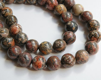 Natural Leopardskin Jasper round natural gemstone strand 10mm 3752GS