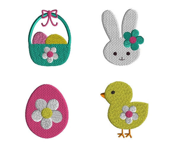 Mini easter machine embroidery design set instant download