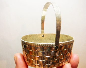 Vintage small silver woven basket with handle made in japan