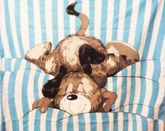 Vintage dog bed cover duvet mutt cartoon sleeping dog kennel decor