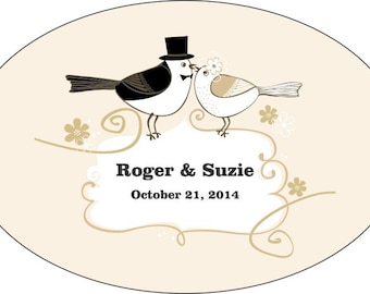 125 Personalized Wedding Stickers -  3x2 Oval Wedding Favor / Welcome Bag Labels - Compare and Save